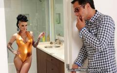 Busty Christy Mack in golden bodysuit riding a big cock
