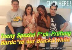 QueenParis & LatinPanther - Teeny Spezial Fick-Prüfung - Hardcore 4er Black & White