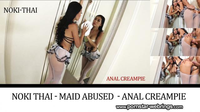 Thai Pornstar Noki Thai - Maid abused while trying out - Anal Creampie