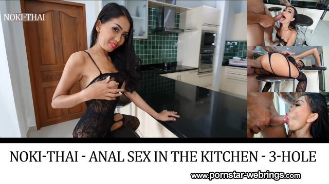 Thai Pornstar Noki Thai - Anal Sex in the Kitchen - 3-hole mare is pounded hard